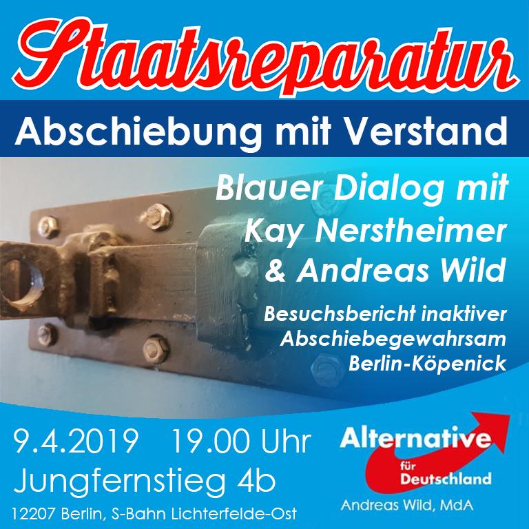 Blauer Dialog mit Kay Nerstheimer und Andreas Wild: Abschiebung mit Verstand