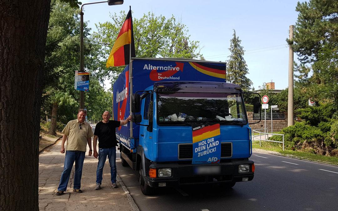 Wahlkampfhilfe in Seelow, Brandenburg