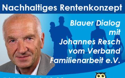 Blauer Dialog mit Johannes Resch: Nachhaltiges Rentenkonzept