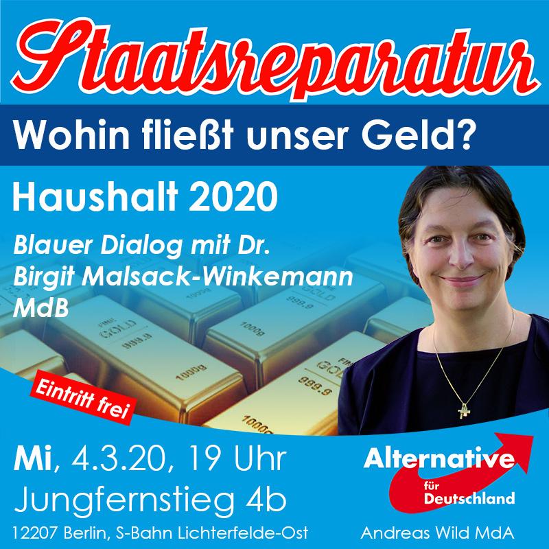 Blauer Dialog mit Dr. Birgit Malsack-Winkemann MdB – Haushalt 2020: Wohin fließt unser Geld?