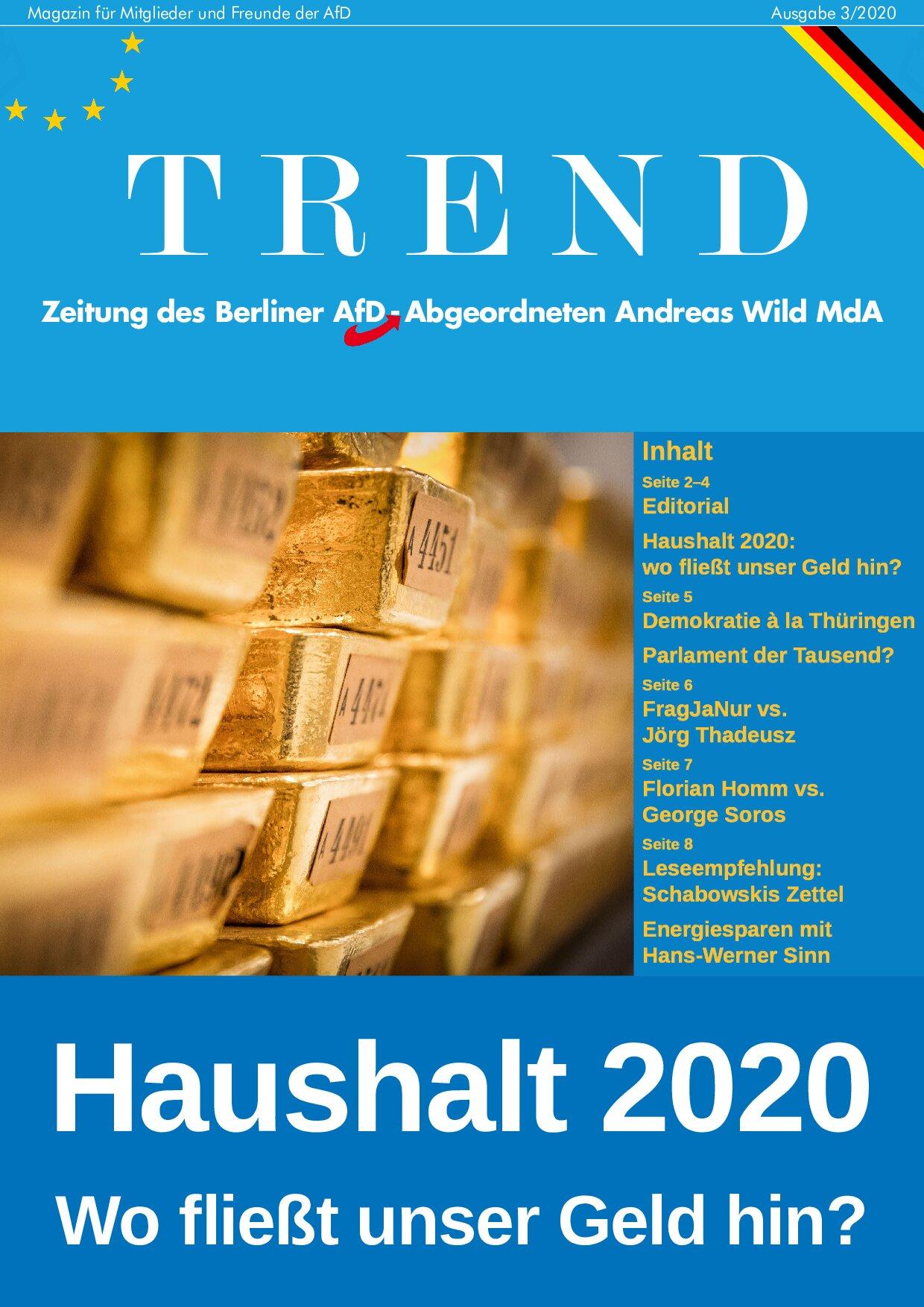 Trend-Magazin März 2020 – Haushalt 2020: Wohin fließt unser Geld?