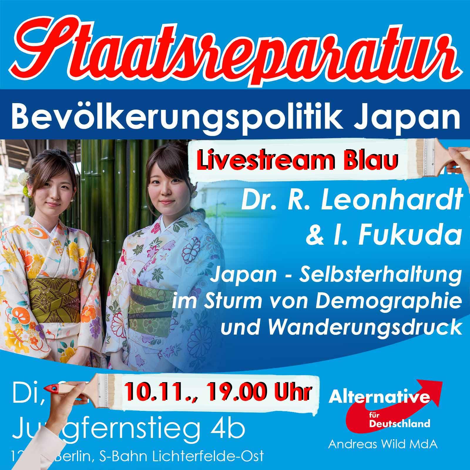 Blauer Dialog mit Dr. R. Leonhardt und I. Fukuda: Japan – Selbsterhaltung im Sturm von Demographie und Wanderungsdruck